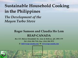 Sustainable Household Cooking  in the Philippines The Development of the  Mayon Turbo Stove
