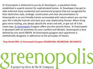 3c Greenopolis 9910007460 ,9811004272