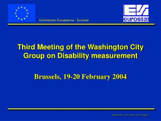Third Meeting of the Washington City Group on Disability measurement