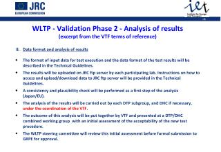 WLTP - Validation Phase 2 -  Analysis of results  (excerpt from the VTF terms of reference)