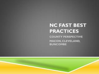 NC FAST BEST PRACTICES