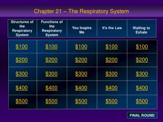 Chapter 21 – The Respiratory System