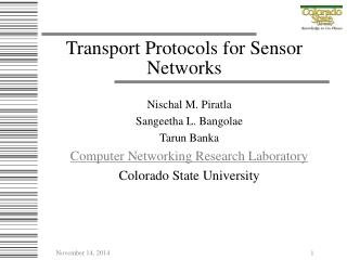 Transport Protocols for Sensor Networks
