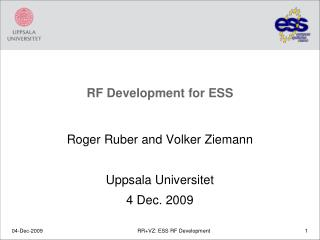 RF Development for ESS