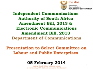 PRESENTATION TO THE  SELECT COMMITTEE ON  LABOUR AND PUBLIC ENTERPRISES     DEPARTMENT OF COMMUNICATIONS   2010