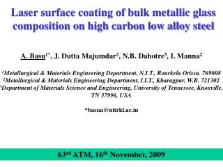 Laser surface coating of bulk metallic glass composition on high carbon low alloy steel