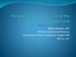 Peripheral Arterial Disease of the Lower Limb Diagnosis and Medical therapy