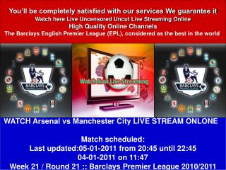 Arsenal vs Manchester City ENGLISH PREMIER LEAGUE