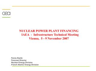 NUCLEAR POWER PLANT FINANCING    IAEA  -  Infrastructure Technical Meeting Vienna,  5 - 9 November 2007