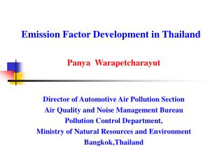 Emission Factor Development in Thailand