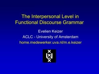 The Interpersonal Level in Functional Discourse Grammar