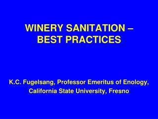 WINERY SANITATION – BEST PRACTICES