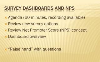Survey Dashboards and NPS