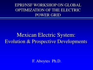 Mexican Electric System: Evolution & Prospective Developments
