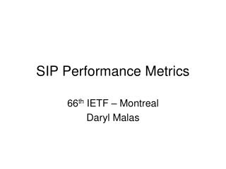 SIP Performance Metrics