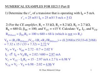 NUMERICAL EXAMPLES FOR EE213 Part II