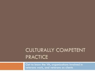 Culturally Competent Practice