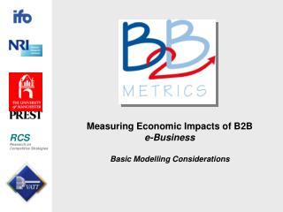 Measuring Economic Impacts of B2B e-Business Basic Modelling Considerations
