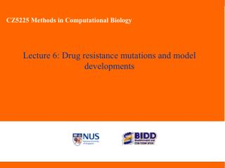 Lecture 6: Drug resistance mutations and model developments
