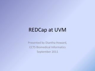 REDCap at UVM