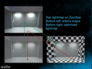 Top: lightmap on Zanzibar Bottom left: artist's output Bottom right: optimized lightmap