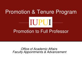 Promotion & Tenure Program