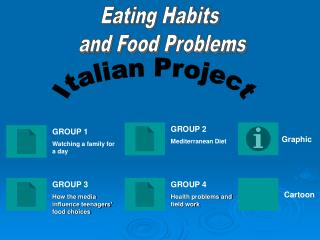 Eating habits and problems. Italian presentations.