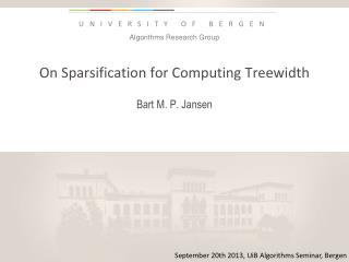 On  Sparsification  for Computing  Treewidth