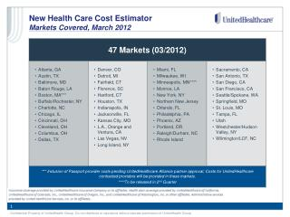 New Health Care Cost Estimator  Markets Covered, March 2012