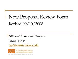 New Proposal Review Form Revised 09/10/2008