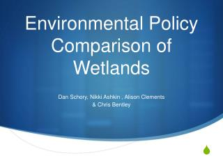Environmental Policy Comparison of Wetlands
