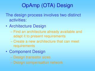 OpAmp (OTA) Design