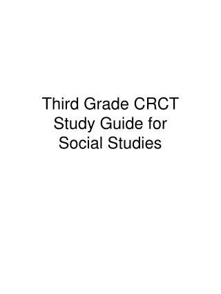 Third Grade CRCT  Study Guide for  Social Studies