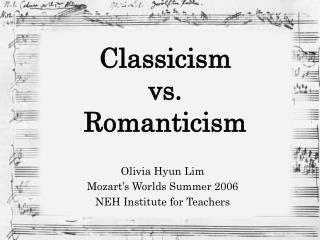 Classicism  vs.  Romanticism