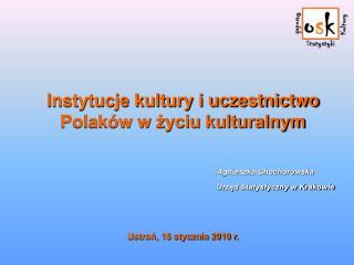 Instytucje kultury i uczestnictwo Polaków w życiu kulturalnym