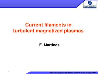 Current filaments in  turbulent magnetized plasmas