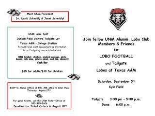 Join fellow UNM Alumni, Lobo Club Members & Friends for LOBO FOOTBALL and  Tailgate