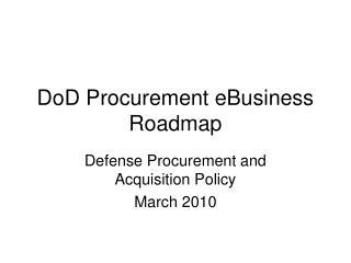 DoD Procurement eBusiness Roadmap