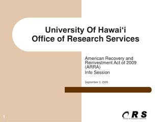 University Of Hawai'i Office of Research Services