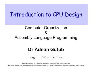 Introduction to CPU Design