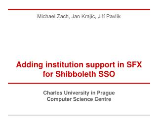 Adding institution support in SFX for Shibboleth SSO