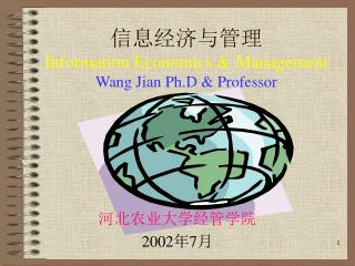 信息经济与管理 Information Economics & Management Wang Jian Ph.D & Professor