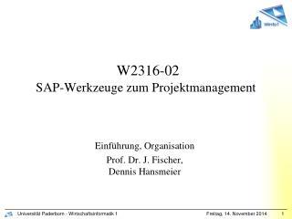 W2316-02 SAP-Werkzeuge zum Projektmanagement