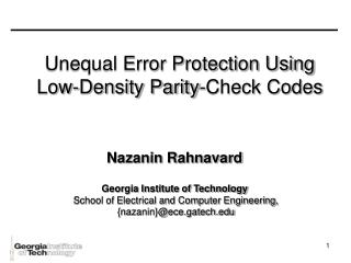 Unequal Error Protection Using Low-Density Parity-Check Codes