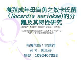 養殖成年母烏魚之奴卡氏菌 ( Nocardia seriokae ) 的分離及其特性研究