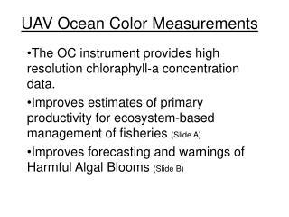 UAV Ocean Color Measurements