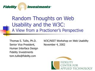 Random Thoughts on Web Usability and the W3C: A View from a Practioner's Perspective