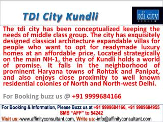 TDI City kundli property @ 09999684166