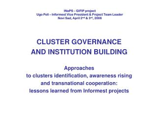 CLUSTER GOVERNANCE  AND INSTITUTION BUILDING Approaches