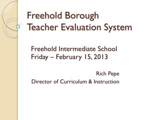 Freehold Borough Teacher Evaluation System